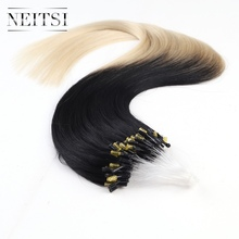 Neitsi Straight Ombre Brazilian Loop Micro Ring Hair Extensions 100% Human Hair 20″ 1g/s 100g 16 Colors