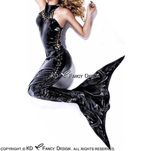 Black Sleeveless Sexy Latex Mermaid With Lacing And Tail Rubber Sea-maid Sea-maiden Bodycon Playsuit LTY-0131