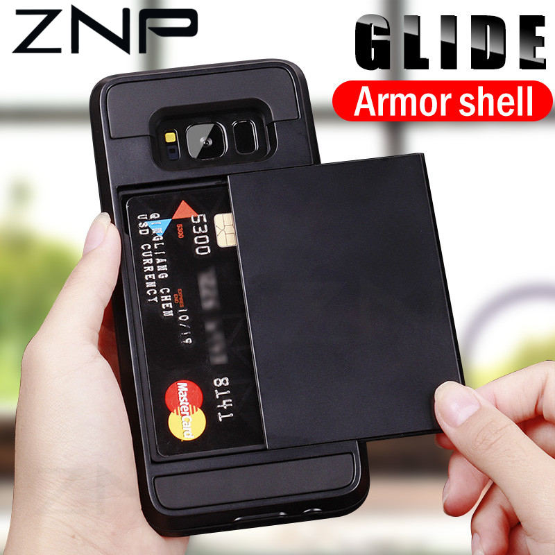 ZNP Card-Holder Phone-Case Armor Slide S6-Edge S8 Full-Cover Samsung Galaxy Note 9 Plus