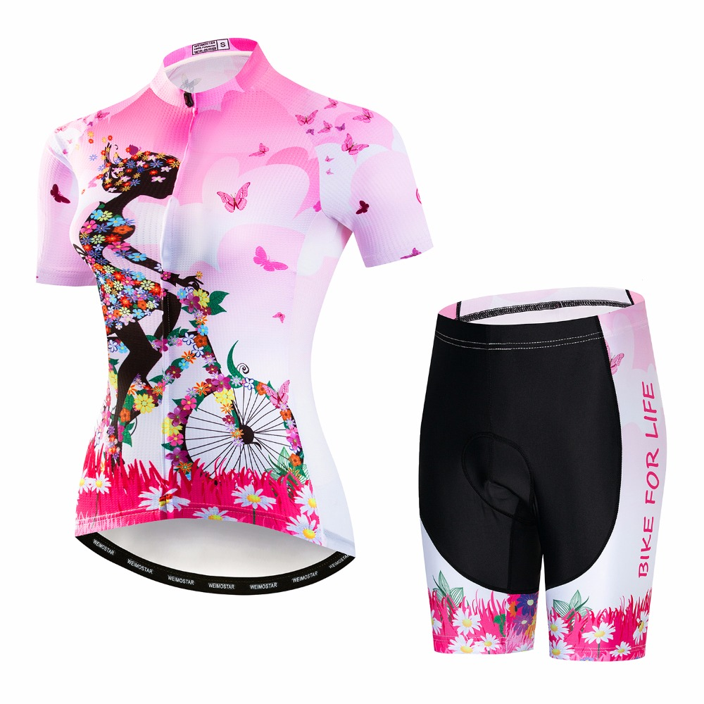 Cycling Jersey Shorts Set Women Bike jersey Quick Dry Bicycle Short Sleeve summer team Girl Cycling
