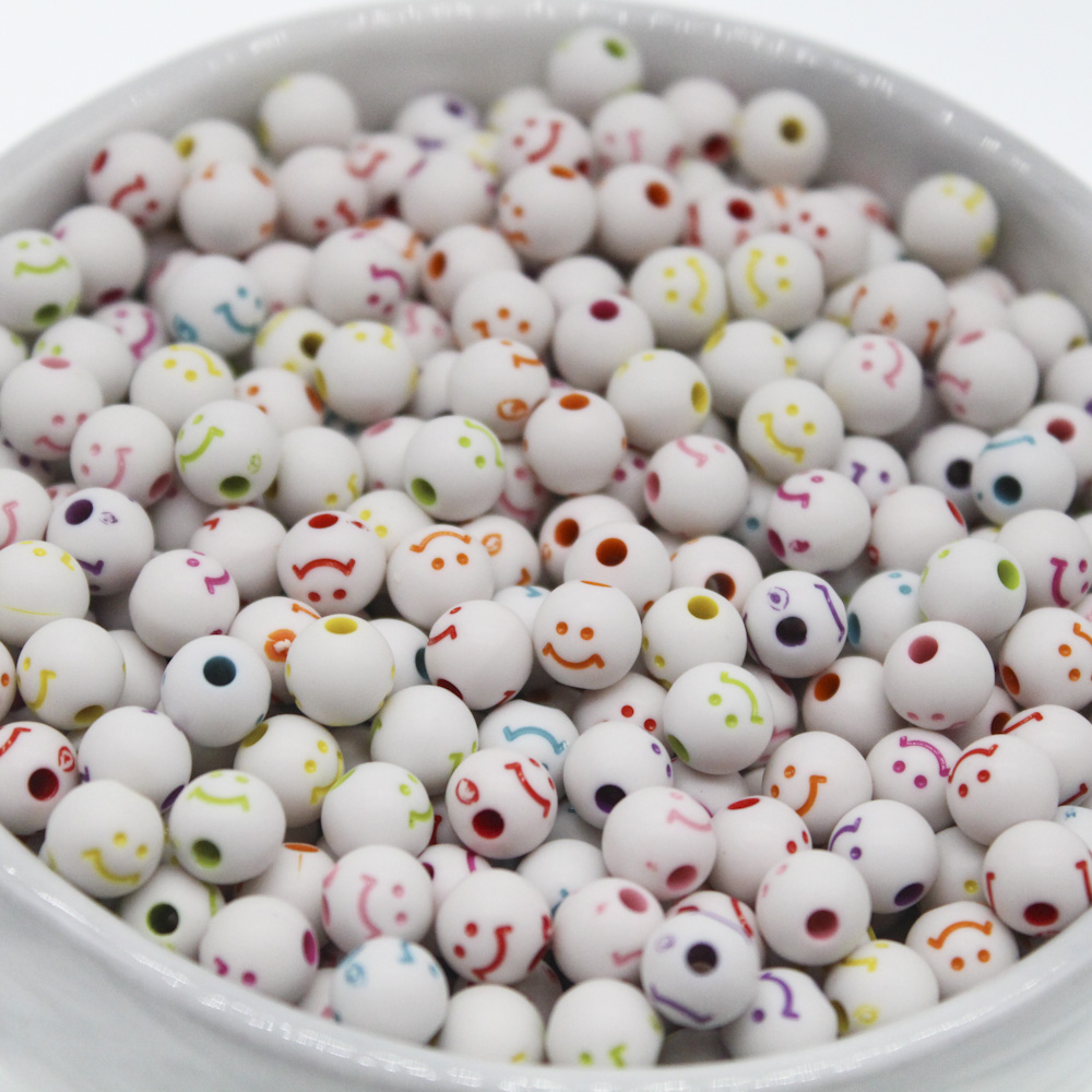 100 8mm White /& Mixed Colour Round Smile Smiley Face Acrylic Beads