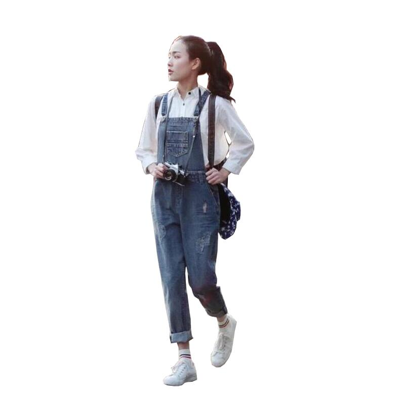 New Women Denim Jumpsuit 2017 casual Loose Solid Jeans Overalls Combinaison Femme S282 ...