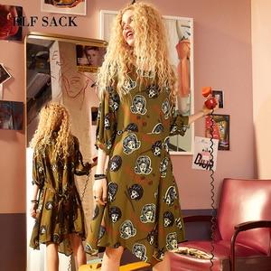 Image 3 - ELFSACK Summer Women Clothing Puff Sleeve Dress Womens Character Graffiti Printing Dresses O Neck Asymmetry Chic One Piece