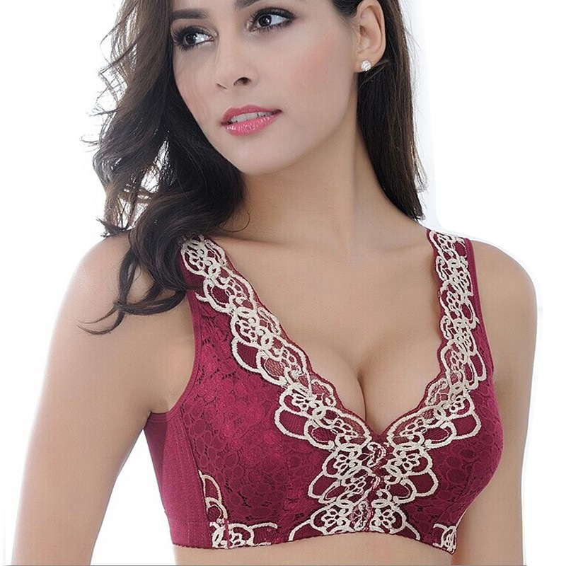 New Fashion Hot Young Girls Bra Women Wire Free Lace Bra Push Up Brassiere Cup B