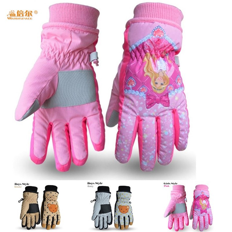 Children Ski Gloves,Winter Plus Velvet Warm Kids Boys&Girls Cartoon Bear Cute Princess Waterproof Windproof Gloves,for 5-12 age