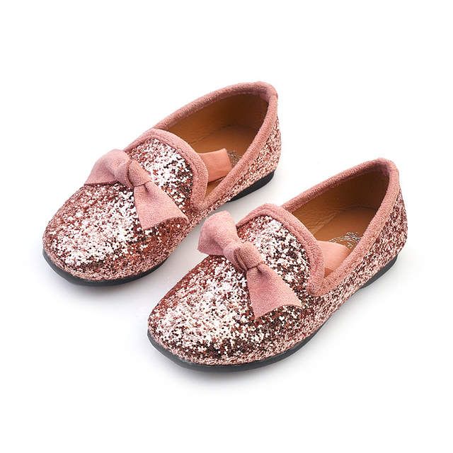0d09387c91 Girls Shoes With Bow Knot Flats Slip On Bling Loafers Glitter Kids Children  Shoes Princess Shoes 3-11 years old