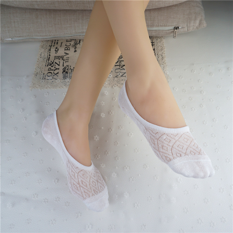 Lace Lady Summer Low Spring No Mesh Boat Socks Invisible Patchwork Cotton