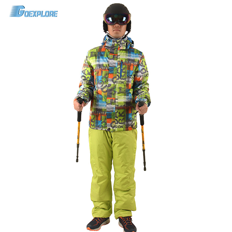 Фото Goexplore Skiing Set Male Outdoor Waterproof Windrpoof thicken coat winter Snow Suit set snowboarding jacket and pants for men