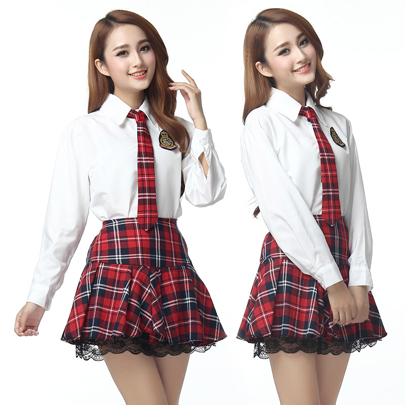 Korean Long Sleeves School Uniform Suit Girls Performers Student Costume Women's Japanese School Uniform  Shirt + Plaid Skir