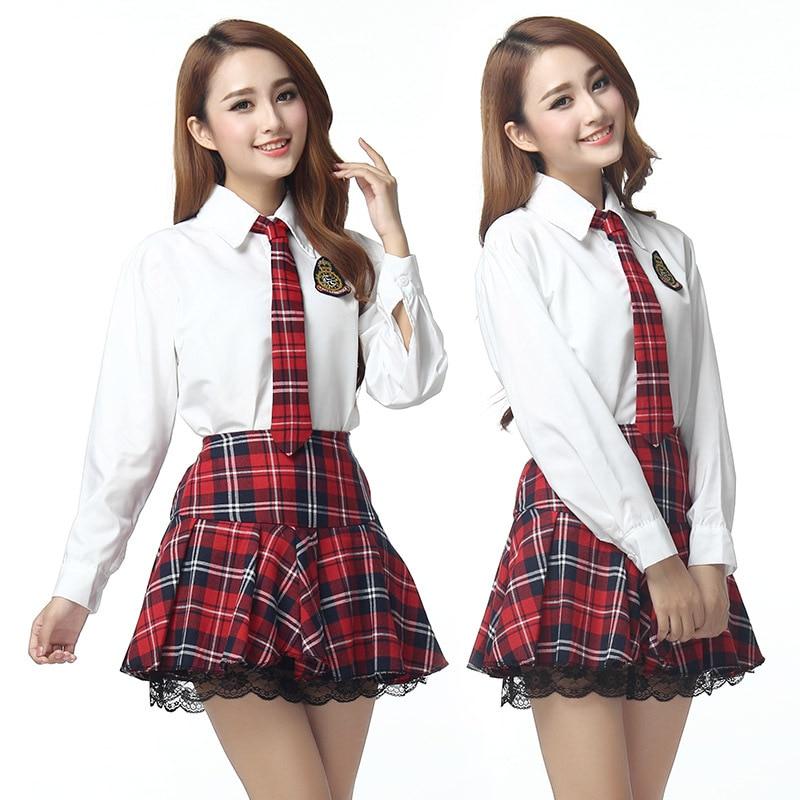 Korean Long Sleeves School Uniform Suit Girls Performers Student Costume Women's Japanese School Uniform  Shirt + Plaid Skir
