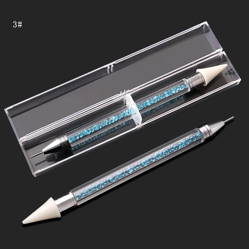 1pcs Dual ended Dotting Pen Rhinestone Picker Wax Pencil Crystal Beads Handle Manicure Nail Art Tool in Dotting Tools from Beauty Health