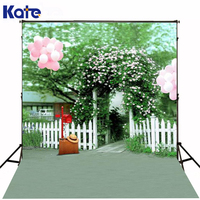 Kate Digital Printing Photography Backdrops Patio Door White Flowers Backdrops Pink Balloon Green Photographic Background