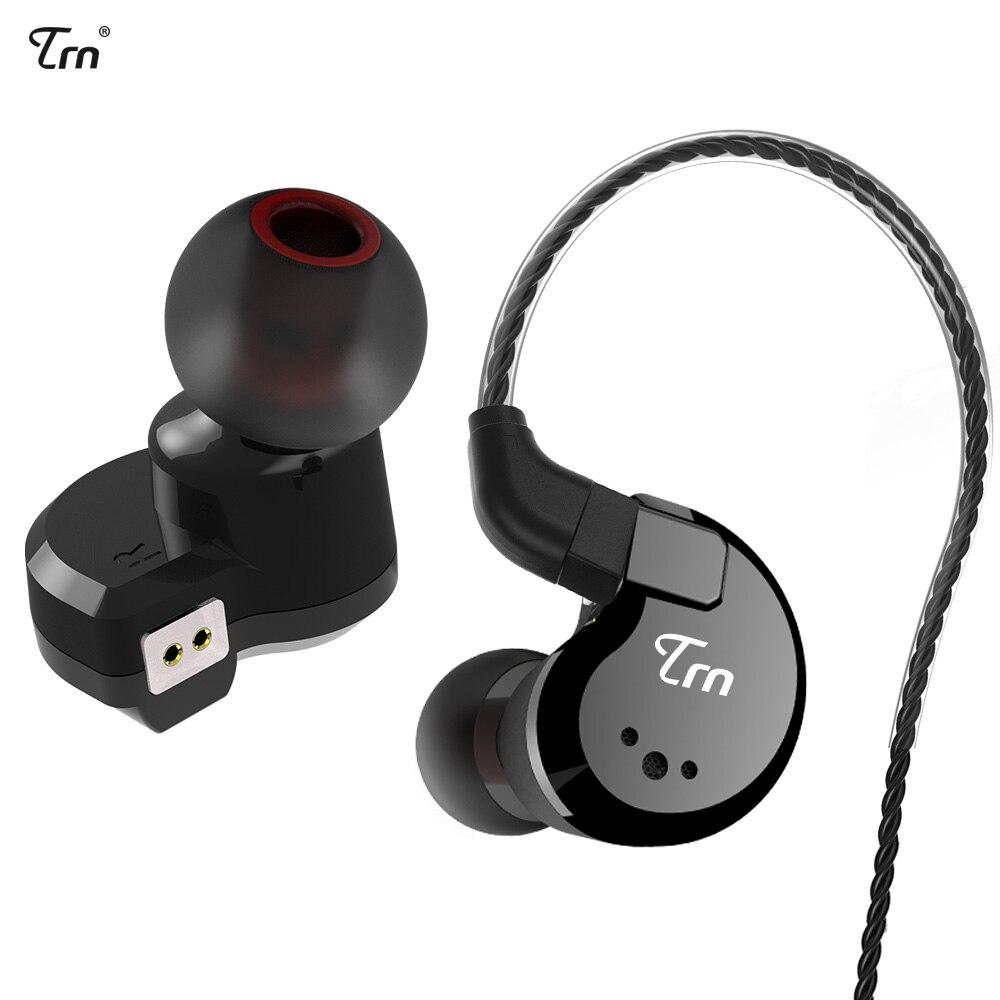 TRN V80 2DD + 2BA Hybride Écouteurs Sport Antibruit Stéréo Basse Casque 2 PIN Câble Détachable pk V60 pour iPhone xiaomi huawei