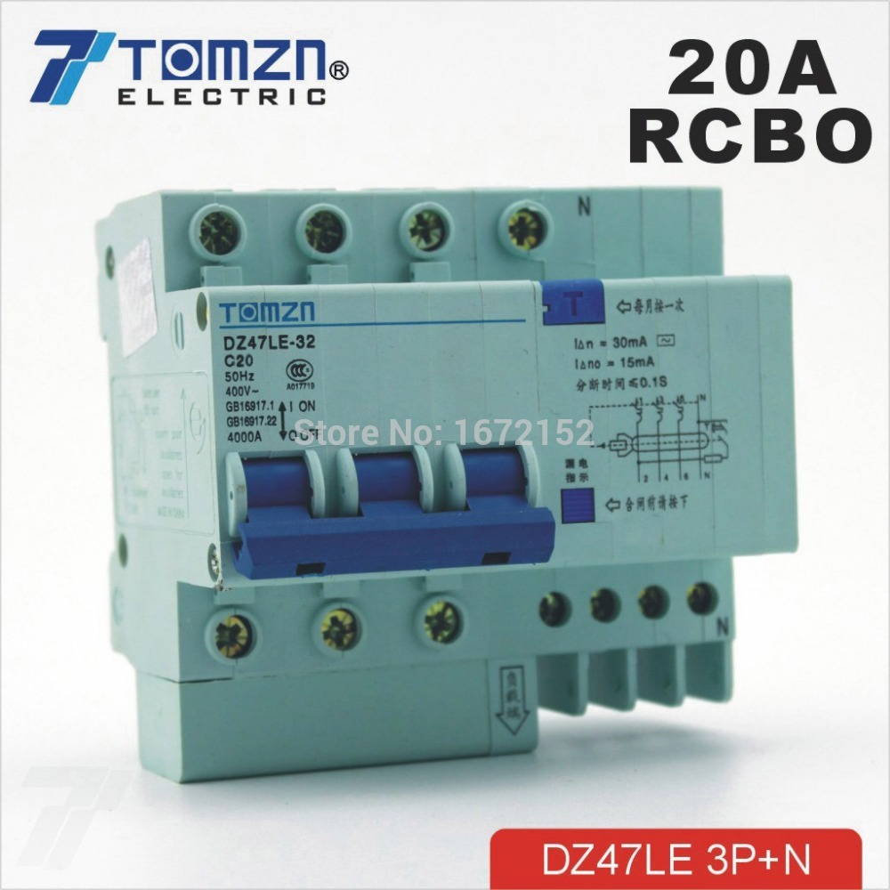 DZ47LE 3P+N 20A 400V~ 50HZ/60HZ Residual current Circuit breaker with over current and Leakage protection RCBO dz47le 3p n 63a 400v 50hz 60hz residual current circuit breaker with over current and leakage protection rcbo