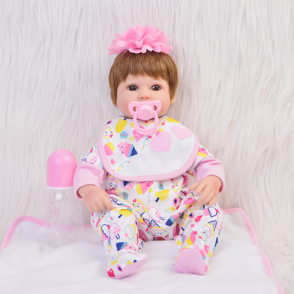 Reborn Silicone Baby Doll Exquisite Realistic 17 Inches Princess Alive Doll Toy Brinquedo With Mohair Kids Birthday Xmas Gift