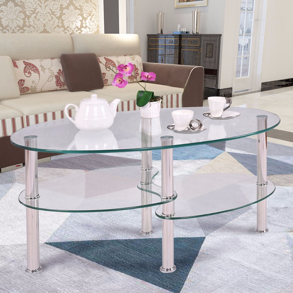 Goplus tempered glass oval side coffee table shelf chrome for Modern living room no coffee table