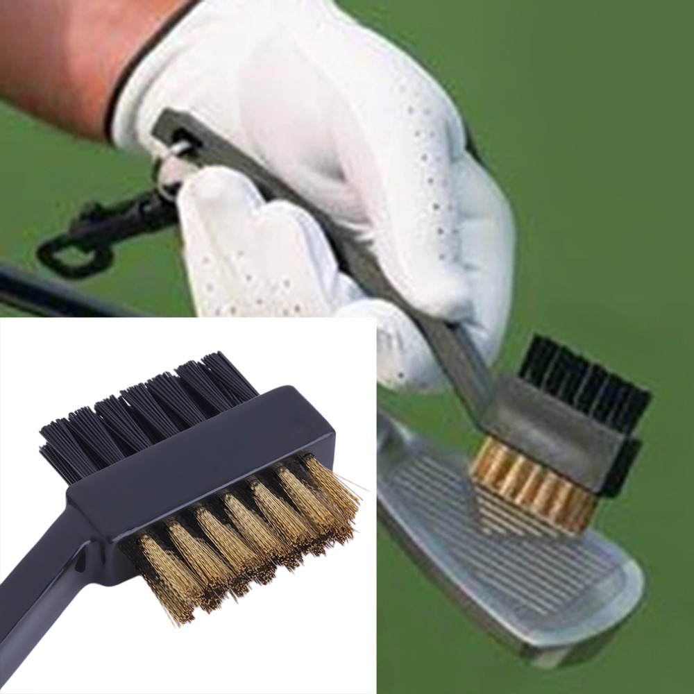 2 Sided Dual Bristles Brass Wires Golf Club Brush Groove Cleaner Kit Tool Black Useful New