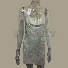 CUERLY 2019 Crystal Metal Halter Shining Summer Dress Women Beach Sequin Mini Sexy Party Dresses