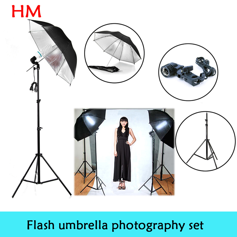 New Photo Studio Photography Set Light Studio Light Photography Lamp Holder Black Silver Flash Reflector Studio Umbrella dhl free shipping 220w studio flash lamp holder photography light equipment 2 set photo studio strobe flash lighting lamp light