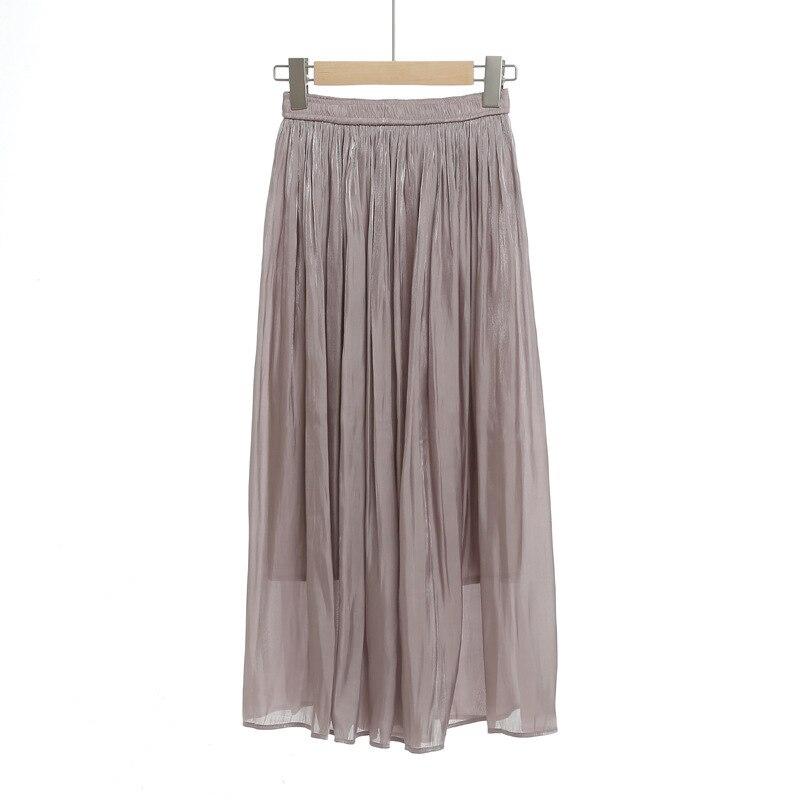 Mercerizing Texture Crimp Pleated Spring Xia Xinkuan Flash Of Light High Waist Half-body Leisurely Type Skirt 5