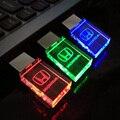 LED de cristal USB Flash Drive Pen Drive 8 GB, Crystal 3 colores LED para honda insignia del coche 8 gb 16 gb 32 gb flash usb 2.0 unidad de memoria