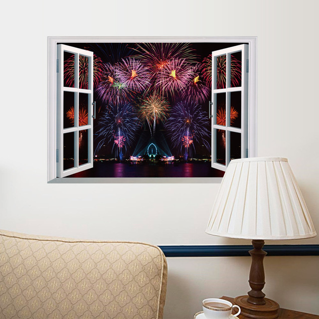 Fake Window View Fireworks Wall Stickers Watching Firework Through The Window  Wall Decals Living Room Bedroom