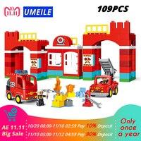 UMEILE 109PCS Fire Department Fire Engine Figure Model Diy Building Block Set Kids Toy Compatible With Duplo 10593 Gift