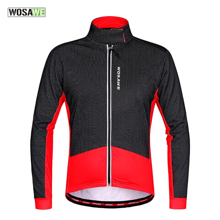 WOSAWE autumn and winter style riding clothes keep warm cycling clothes long sleeved fleece lined clothing jersey windproof