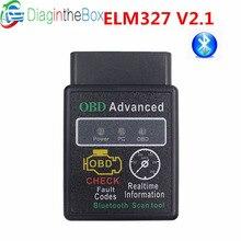 Mais recente ELM327 OBD2 V2.1 Bluetooth OBD Scan Tool Mini ELM 327 OBDII CAN-BUS Scanner de Diagnóstico Para Android Torque janelas