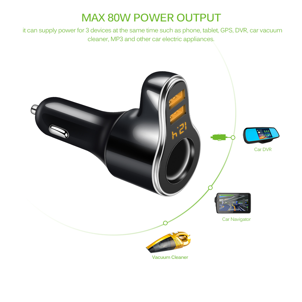 Image 4 - Onever DC 12 24V Car Cigarette Lighter Socket Charger& 3.1A Dual USB Car Charger Adapter with Volmeter Support Fast Charge-in Cigarette Lighter from Automobiles & Motorcycles