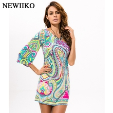 Fashion women's Summer Ethnic style Sexy inclined shoulder Strapless irregular printing Contrast Color Beach style dress