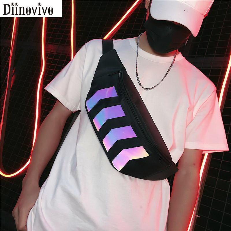 DIINOVIVO Reflective Stripe Chest Bag Women Waist Bag Waterproof Fanny Pack Female Banana Bag Casual Shoulder Bag Women WHDV1188