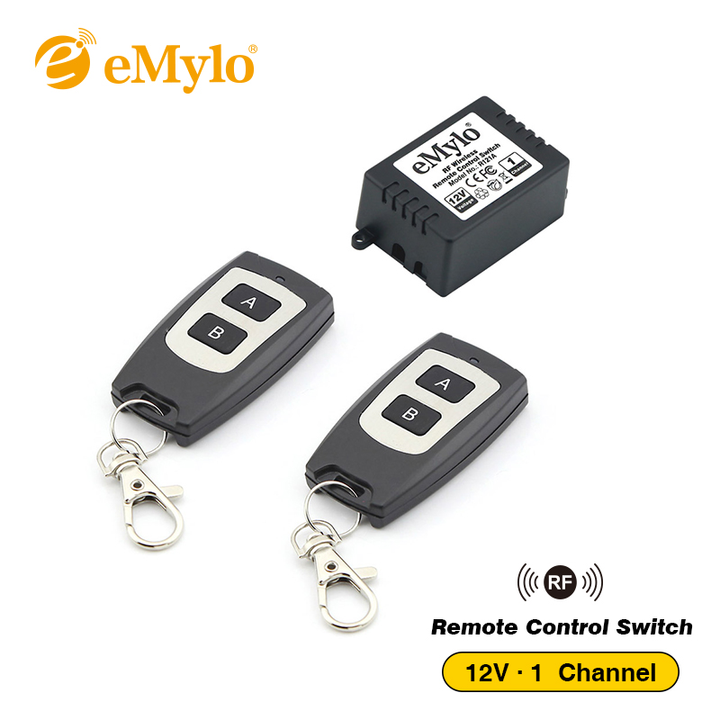 eMylo RF DC 12V Wireless Switch, Remote Control Light Switch 433Mhz Black Type Transmitter 1 Channel Relay Remote Controller