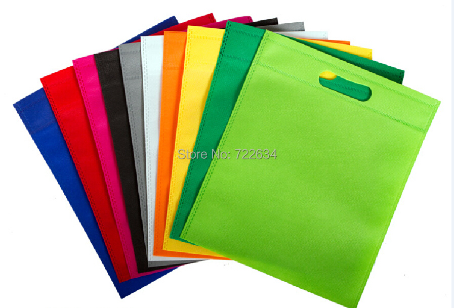100pcs/lot eco recyclable non woven shopping bags without your logo 12 colors 5 size for your choice free shipping