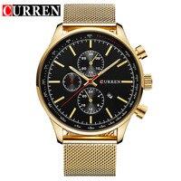 2016 CURREN New Gold Quartz Watches Men Top Brand Luxury Wrist Watches Golden Clock Male Relogio