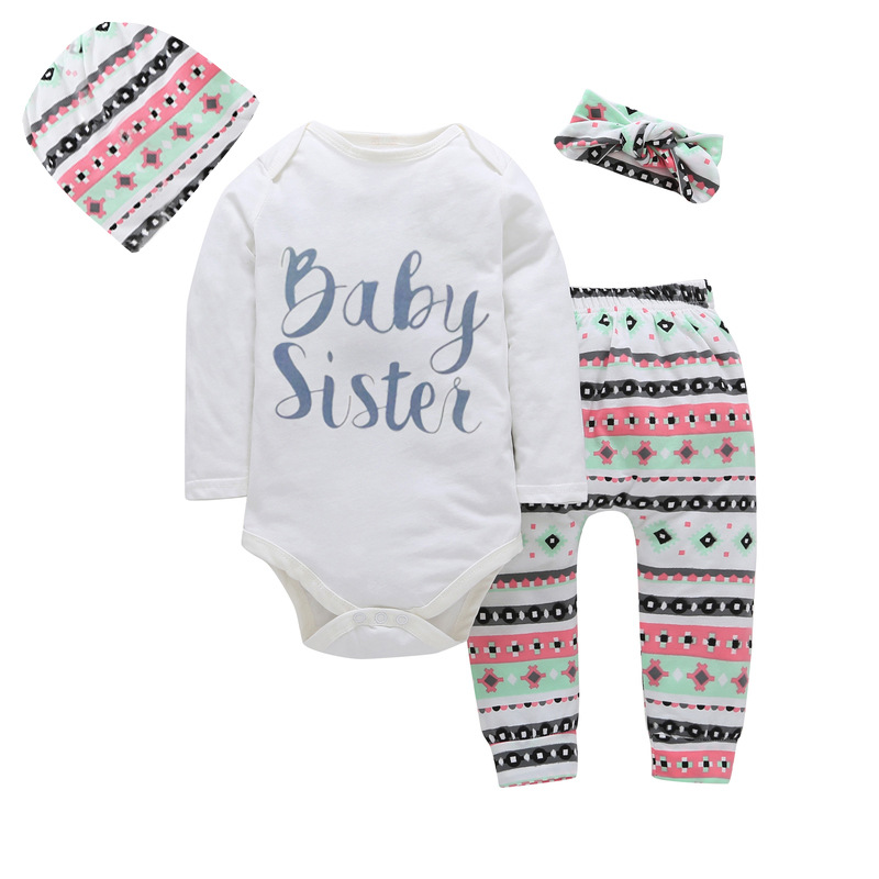 4PCS Baby Sister Set 2018 Newborn Infant baby girls clothes Romper jumpsuit +pants+ headband+ Hat bebe kids girls outfit