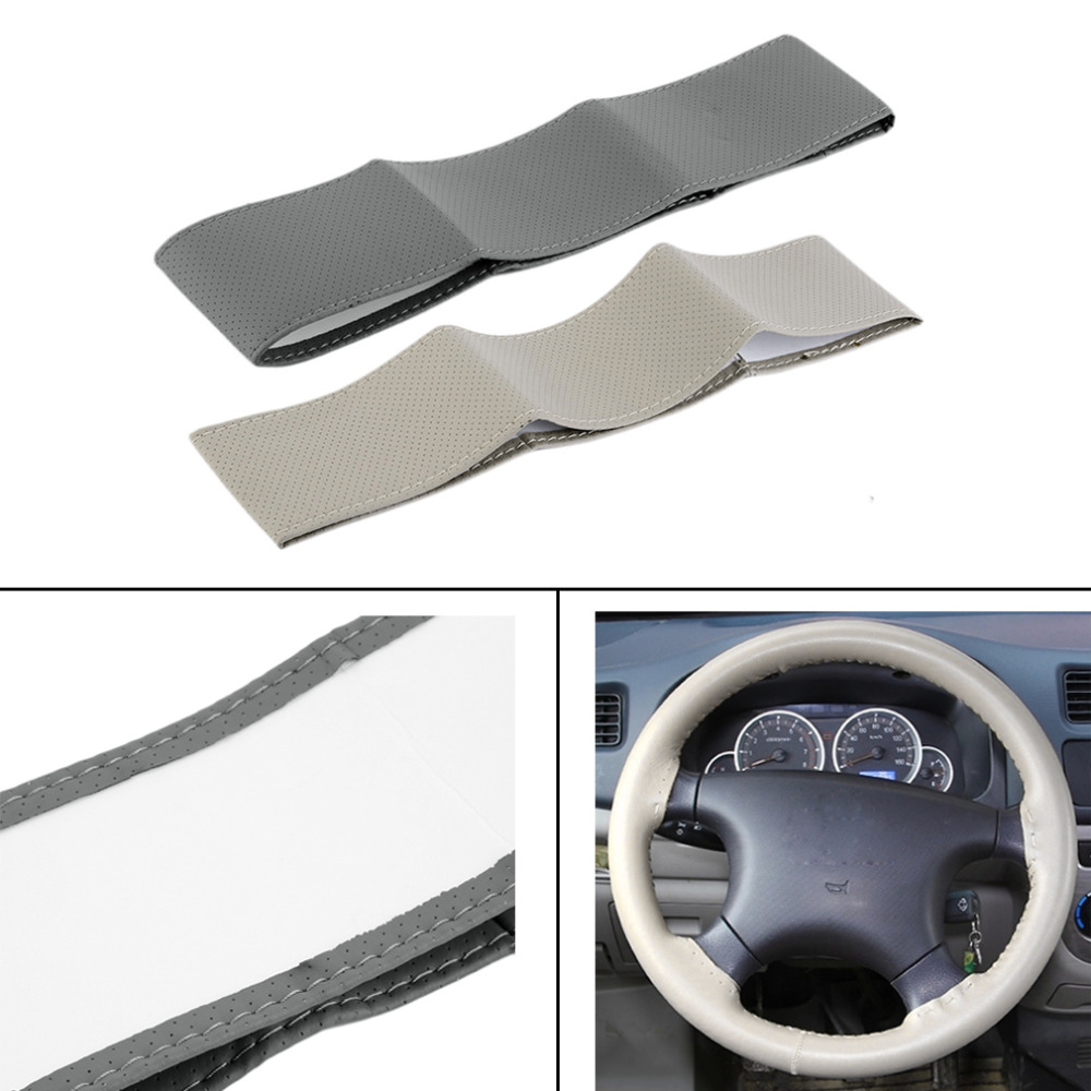 Universal Cool Anti-slip Breathable PU Leather DIY Car Steering Wheel Cover With Needles and Thread Car-Styling