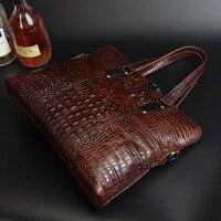 Top Quality Fashion 100 Crocodile Grain Genuine Leather Briefcase Bag Tote Business Bags Laptop Handbags Fast