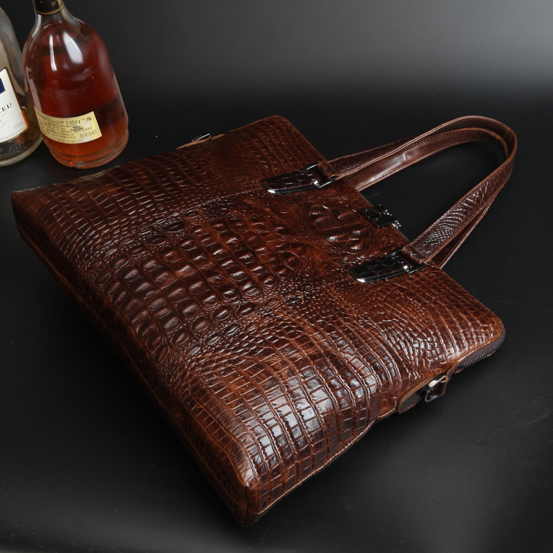 Top Quality Fashion 100 Crocodile Grain Genuine Real cowhide font b leather b font Briefcase Messenger
