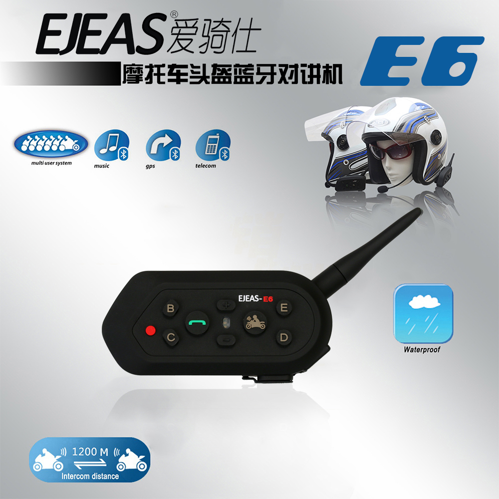 New Ejeas E6 BT Motorcycle Headset 6 Riders 1200M Communication Helmet Interphone VOX Bluetooth Intercom for 6 Riders Suitable motorcycle helmet bluetooth headset communication systems for motorbike aug4 professional factory price drop shipping