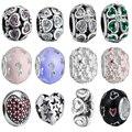 Wybeads prata charme flor & corações esmalte cz encantos europeus fit pulseiras & bangles diy acessórios jóias tomada original