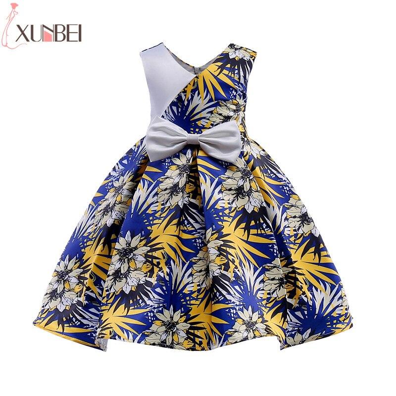 Lovely Ball Gown   Flower     Girl     Dresses   2018 Cutton   Dresses   For   Girls   Printed Kids Prom   Dresses   vestidos infantil de festa