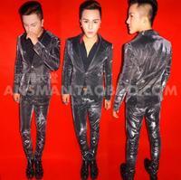 Новый мужской костюм DJ singer блейзеры симфония черный электро оптический пиджак сине фиолетовый градиент блеск розовый блестящий костюм муж