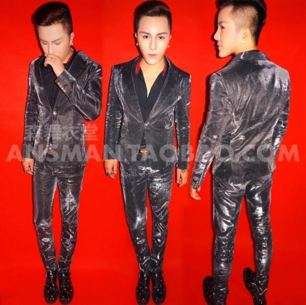 New Men Suit DJ singer Blazers Symphony Black electro-optic jacket blue-purple gradient glitter pink Shiny suits Mens costumes