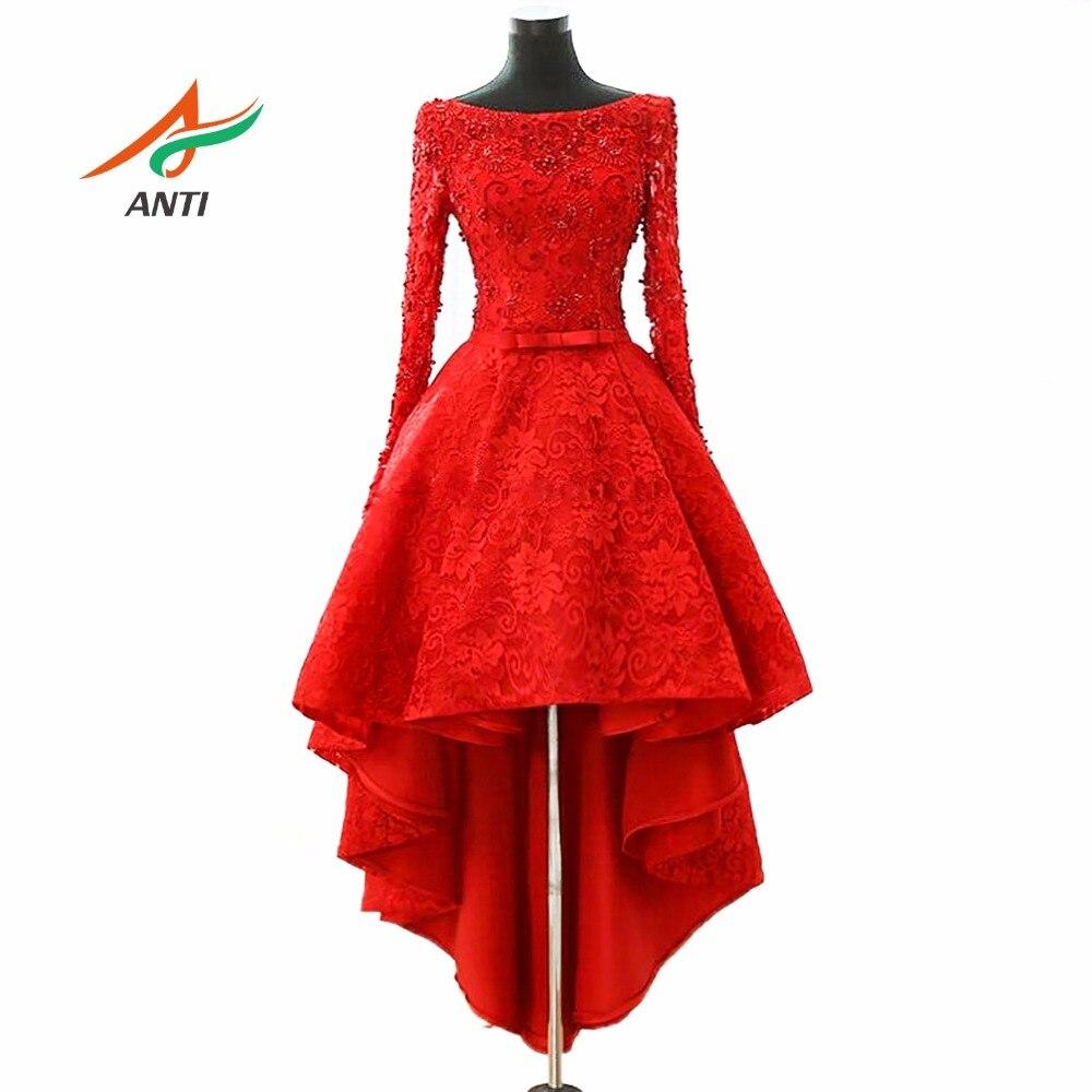 יוקרה אנטי 2018 גבישי שמלות חרוזים קוקטייל גבוה נמוך Robe De Novias Vestidos דה Coctel מסיבת ערב כותנות לסיום