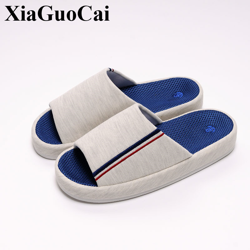 Summer Antiskid Platform Couple Slippers Fabric Indoor Soft Breathable Soles Camfort Falts Causal Slippers Shoes Women H187 35