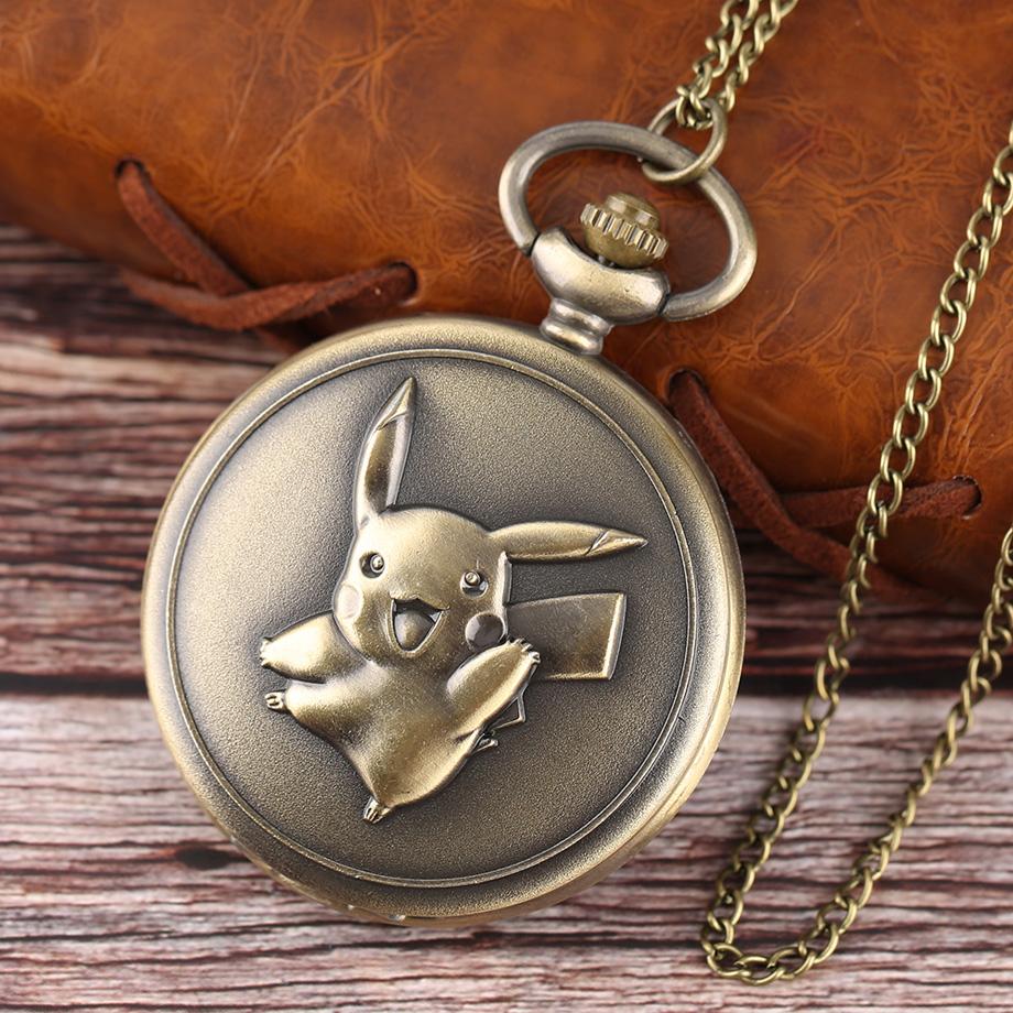 Pocket Watch Men Women Antique Bronze Cute Pikachu Pokemon Pattern Quartz Watch for Boy Girls Unisex Pendant Gift 2017 (10)