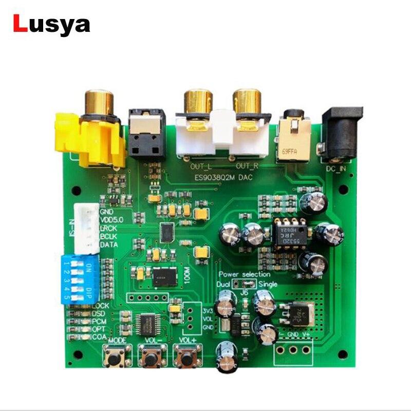 ES9038 Q2M I2S IIS DSD DOP Coaxial Fiber SPDIF Digital Audio DAC Decoder Board support 32bit