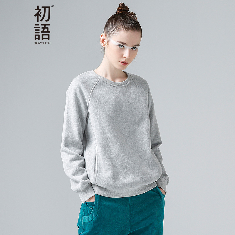 Toyouth 2017 Autumn New Sweatshirts Women O-Neck Long Sleeve Solid Casual Pullovers Tops Female All-Match Loose Sweatshirts