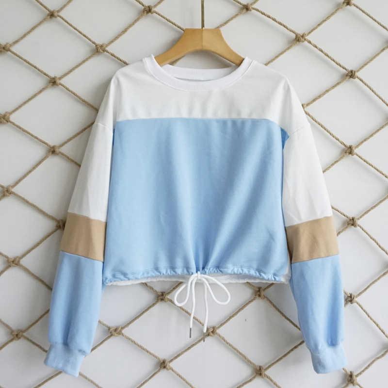 Zastanawiam się, 2019 nowa wiosna z długim rękawem Patchwork boże narodzenie bluzy dorywczo kobiece górnego paska mocującego szwy swetry w stylu Vintage krótkie topy